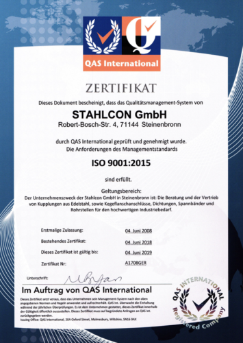 ISO 9001:2015 Certificate   Stahlcon GmbH